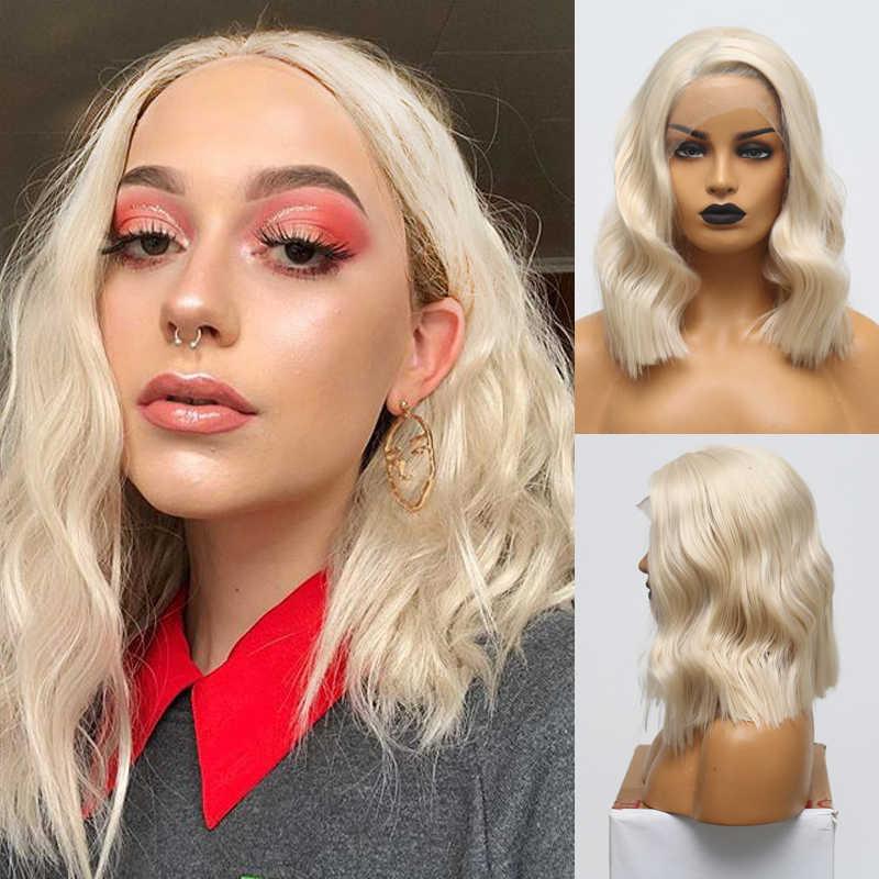 Peluca corta carisma resistente al calor pelucas de pelo ondulado de encaje sintético peluca frontal parte lateral pelucas sin pegamento para mujeres envío gratis