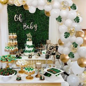 PATIMATE Kit de arco de guirnalda de globos, globos de cumpleaños de boda blanco 1er globo de cumpleaños decoración de ducha de bebé de látex Macaron