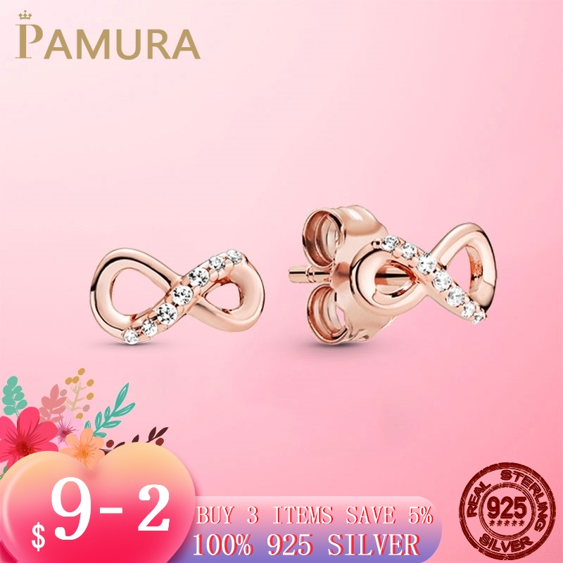 Real 925 Sterling Silver Infinity Stud Earrings For Women New Fashion Silver S925 Original Earing Jewelry Gift