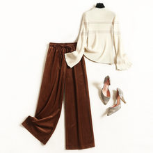 Women 2019 winter stripe knitted sweater beige + brown corduroy wide leg pants suits elegant casual two piece set designer(China)