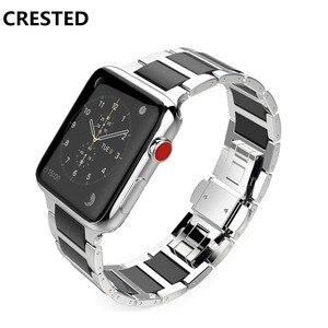Ремешок из нержавеющей стали для apple watch band apple watch 5 4 3 44 мм/40 мм/42 мм/38 мм iWatch band керамический браслет correa