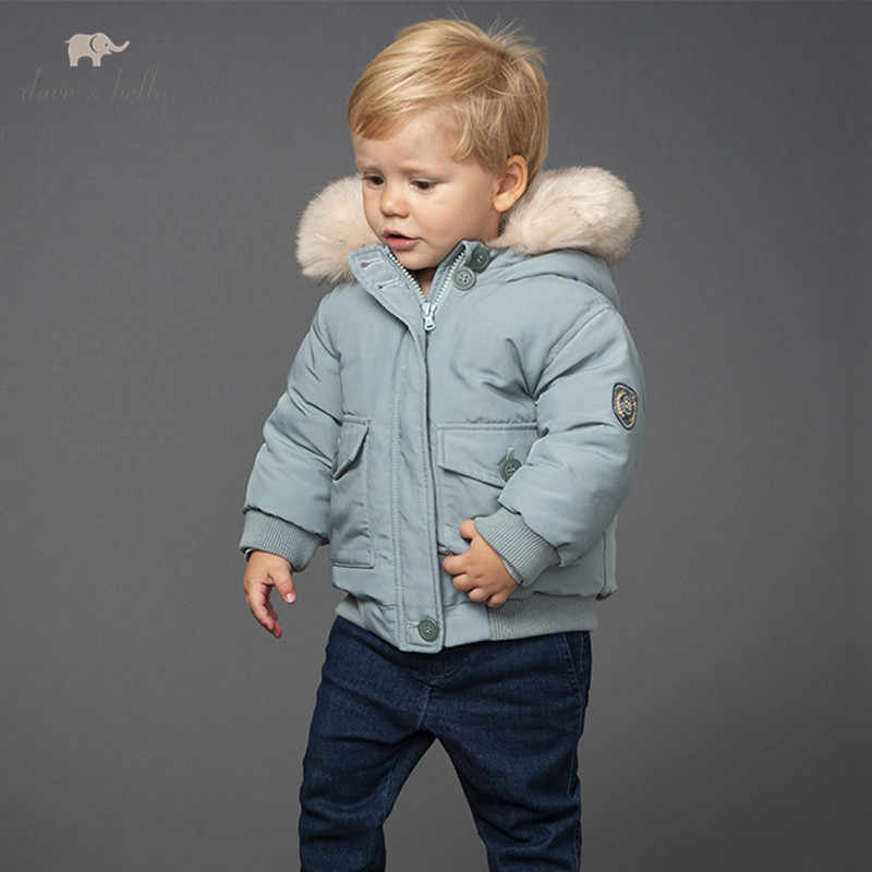 Kids Unisex Quilted Jacket Coat Fur Hooded Cotton Padded Down Parka Boy Overcoat