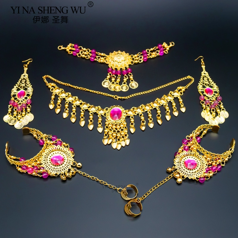 Indian Belly Dancing Accessories Set Women Belly Dance Rhinestone Necklace Earrings Jewelry Set Belly Dance Accessory Wholesale