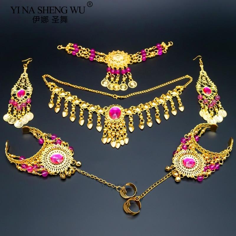 Indian Belly Dancing Accessories Set Women Belly Dance Rhinestone Necklace Earrings Jewelry Set Belly Dance Accessory Wholesale