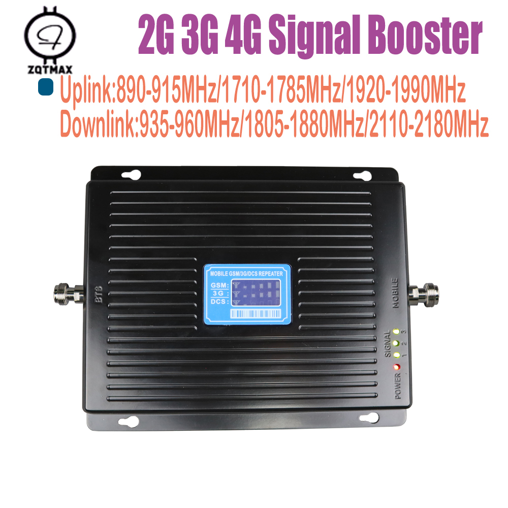 ZQTMAX <font><b>2G</b></font> <font><b>3G</b></font> <font><b>4G</b></font> tri band Cell Phone Signal Booster <font><b>75dB</b></font> <font><b>GSM</b></font> 900 LTE 1800 WCDMA 2100 mhz UMTS LTE Cellular Signal Repeater image