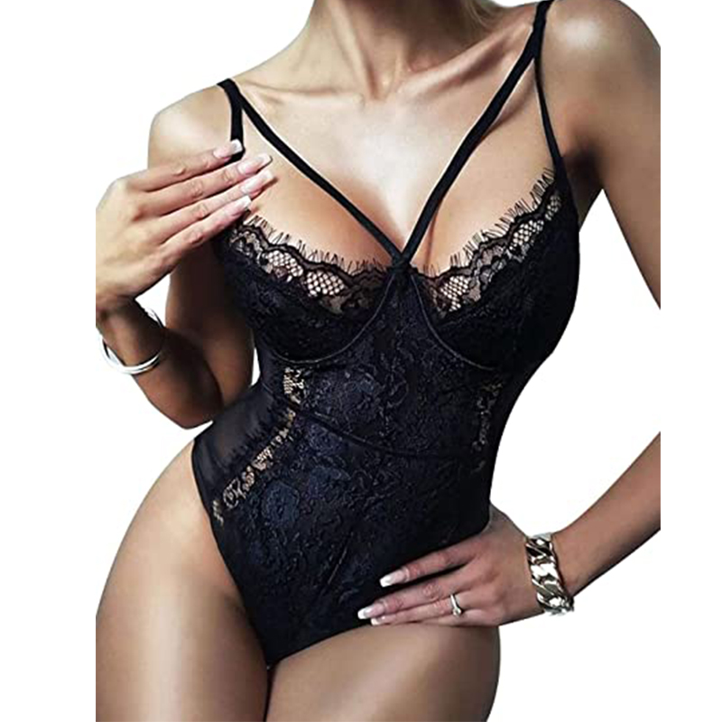 Comeondear Lace Bodysuit Women Sexy Transparent Rompers Female 2020 Party Bodycon Body Push Up Overalls Femme Bodysuits R80875