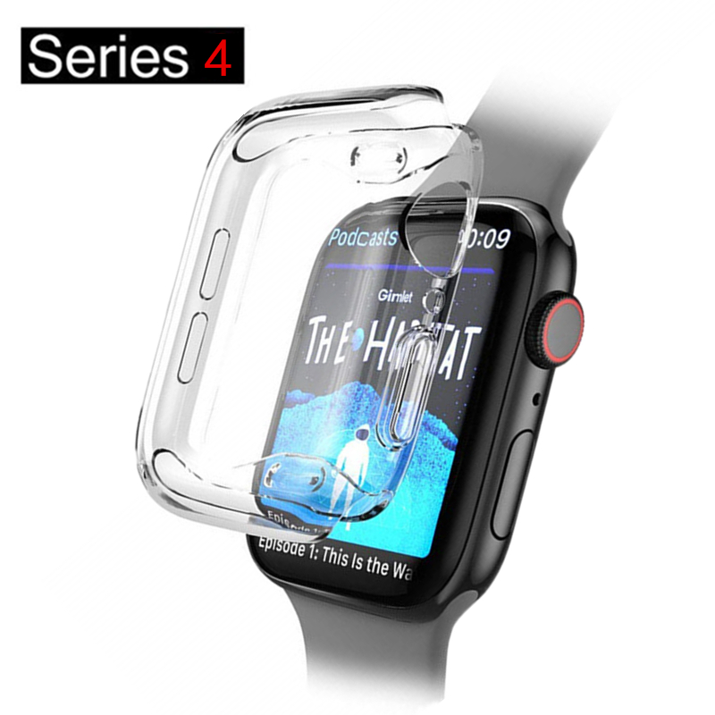 Silicone soft case For Apple Watch series 4 44mm 40mm TPU Protector Cases for iWatch 3 2 All-around Cover Ultra-thin Clear frame image
