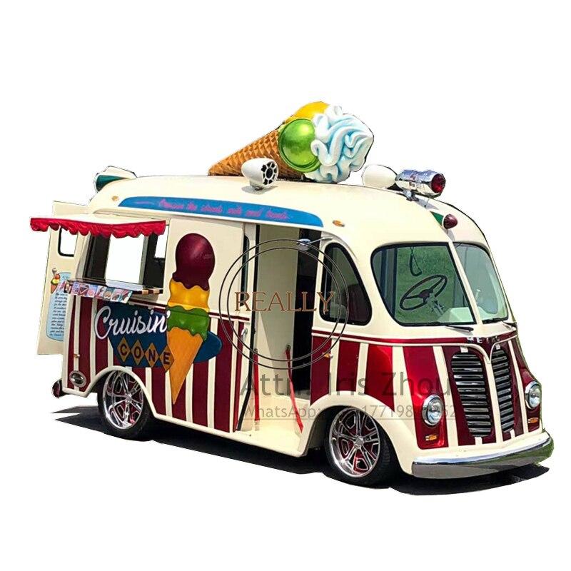 Retro Car Food Truck Ice Cream Cart Food Cart Movable Fast Food Cart Kiosk Perfect Bus Food Truck