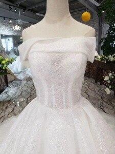 Image 4 - BGW HT5622 Strapless Wedding Dresses Boho Off Shoulder Corset White Shiny Wedding Gowns With Train New Fashion Vestidos De Novia