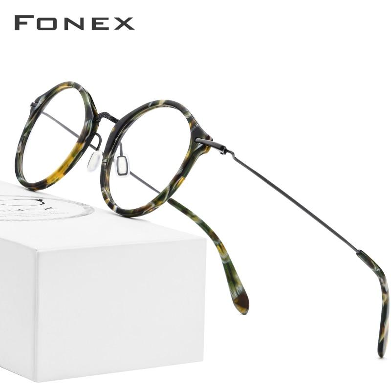 Elastic B Titanium Optical Glasses Frame Women Vintage Round Prescription Eyeglasses Men Retro Myopia Acetate Spectacles Eyewear-in Men's Eyewear Frames from Apparel Accessories