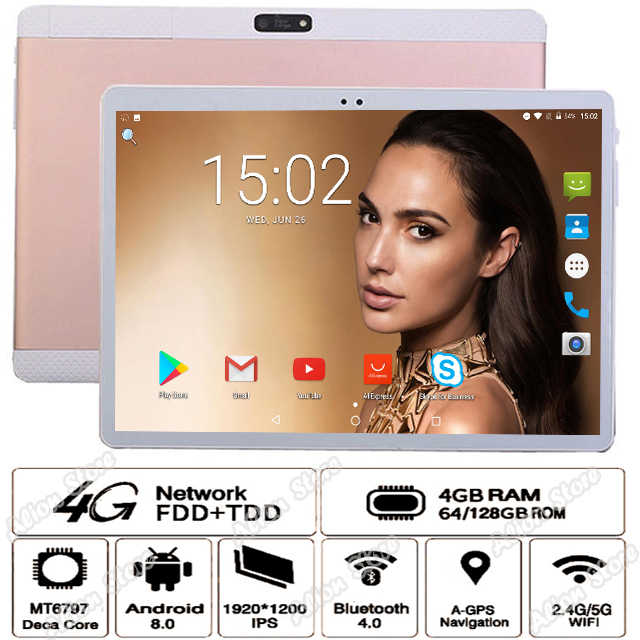 2020 ventas caliente 10 pulgadas Tablet Android 8,0 HD 1920*1200 IPS 4G LTE MT6797 Deca Core 4GB RAM 128GB ROM 8MP WiFi GPS планшет 10,1