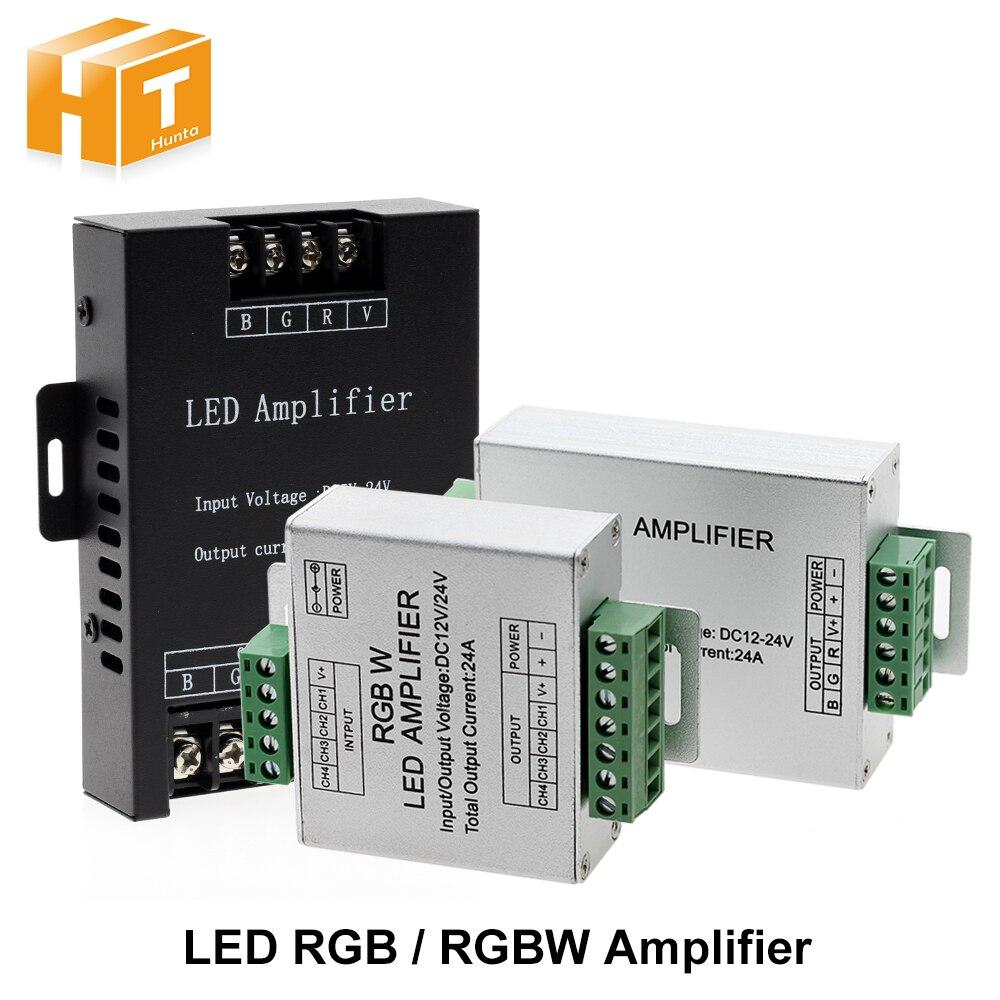 Led rgbw/rgb amplificador dc12-24 v 24a saída para rgbw/rgb led tira controlador de console repetidor de energia