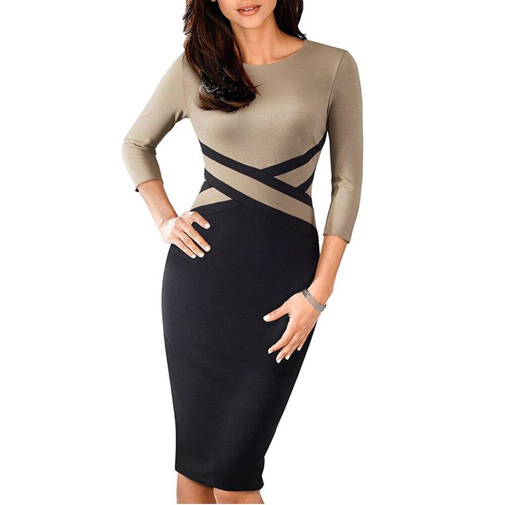 Kadın Giyim'ten Elbiseler'de Bayan Patchwork kontrast sonbahar rahat iş ofis elbise iş zarif üç çeyrek ve kısa kollu Bodycon elbise EB463 title=
