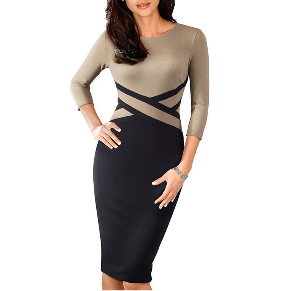 Lady Patchwork Contrast Autumn Casual Business Office Dress Work Elegant Three Quarter And Short Sleeve Bodycon Dress EB463