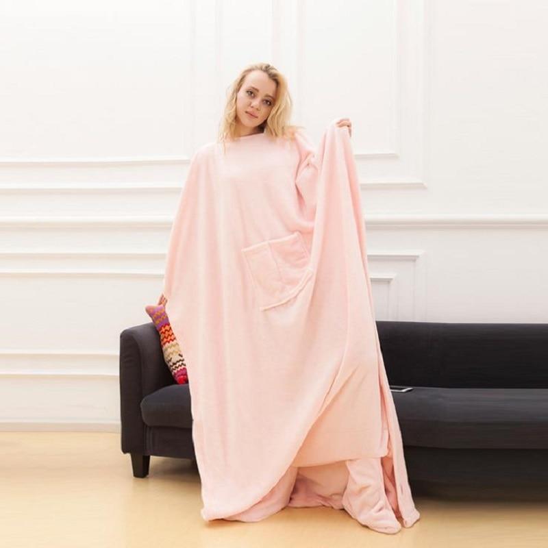 Image 4 - Winter Hooded Pocket Blankets Warm Soft Hoodie Slant Robe Bathrobe Pullover TV Flannel Fleece Blanket Sweatshirt With SleevesBlankets   -