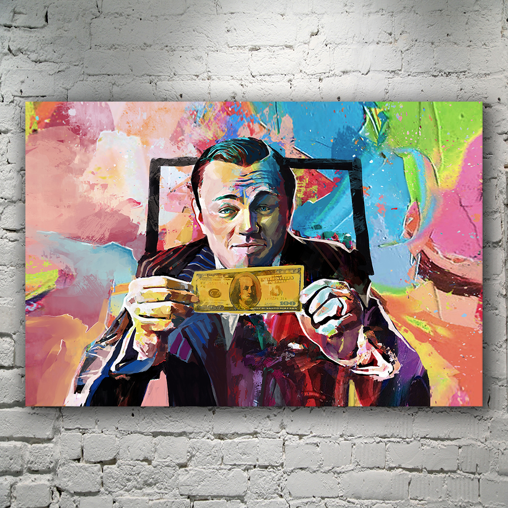 Canvas Art Wolf Of Wall Street, Wall street, <font><b>Leonardo</b></font> <font><b>DiCaprio</b></font>, Money Art, Money Talks, Pop Art, Wall Street printed <font><b>painting</b></font> image