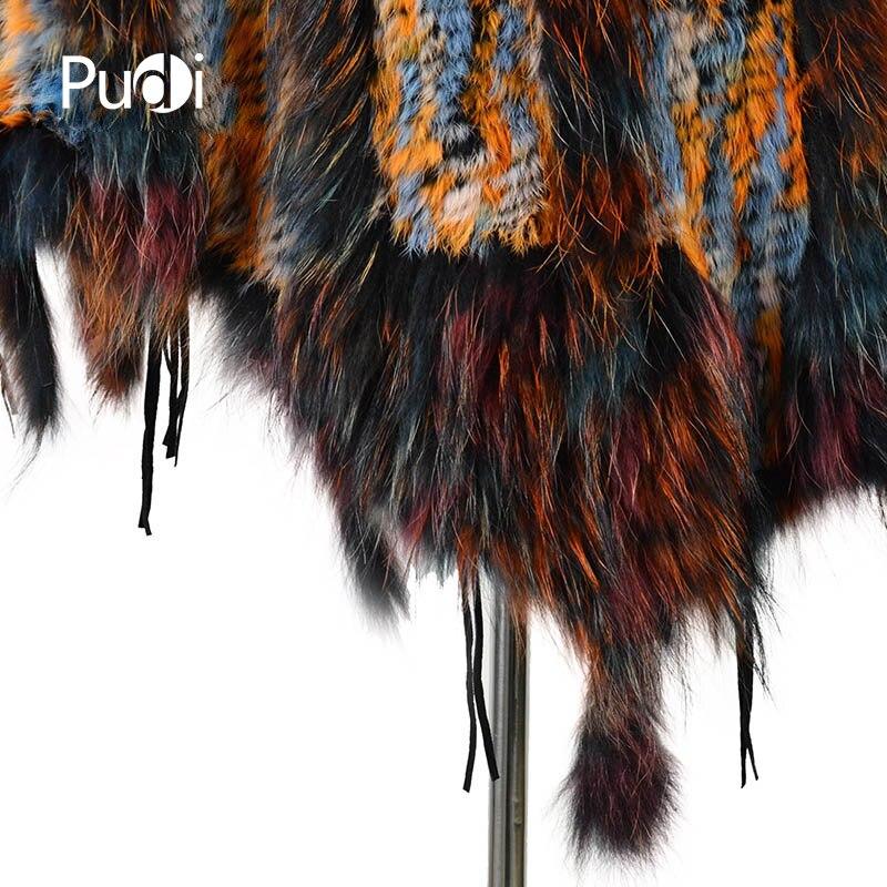 CK708 Real punto conejo chal poncho estola con borlas encogimiento de hombros capa bata tippet abrigo con Cuello de piel de mapache mujeres - 5