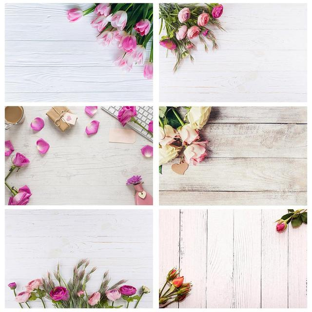 Flowers Wooden Plank Photo Backdrops Vinyl Cloth Backgrounds for Lovers Valentines Day Wedding Photophone Photography Props