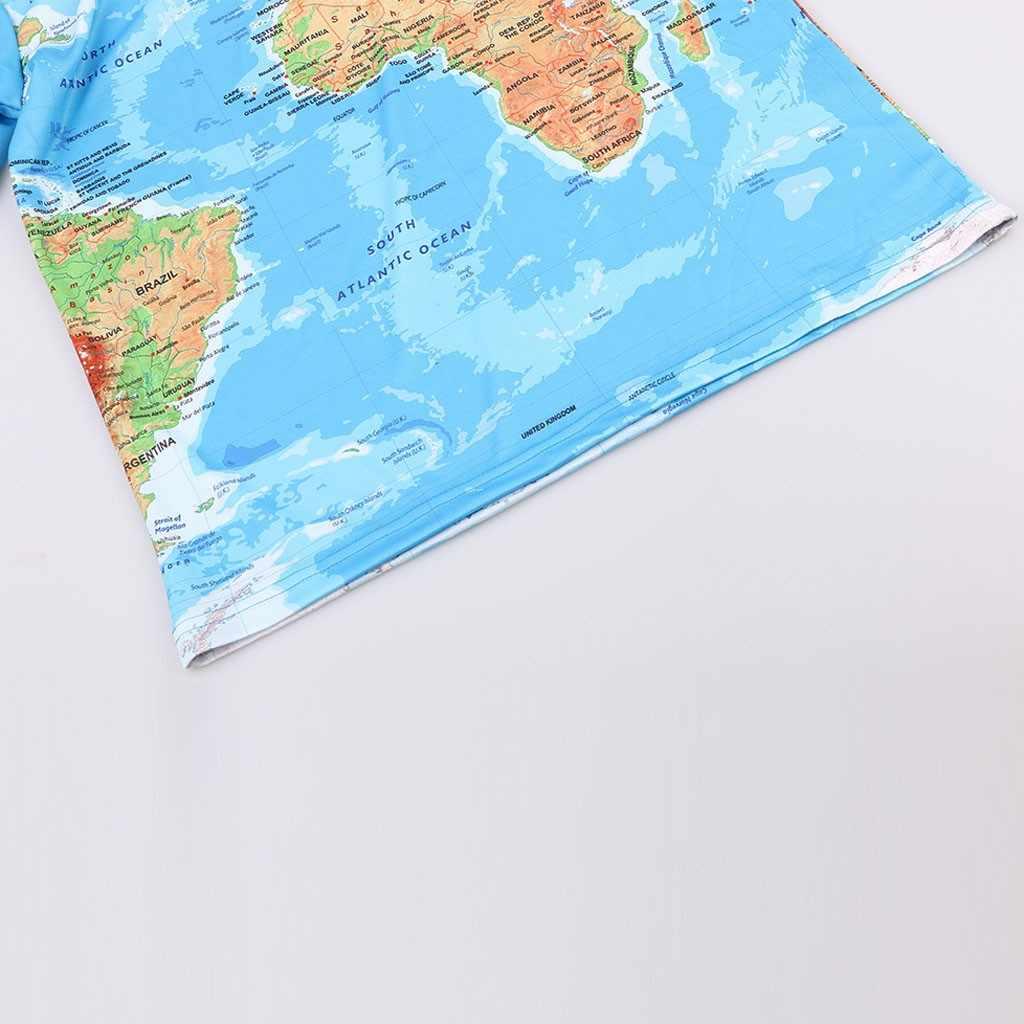 25 # Pria Fashion T-Kemeja Peta Dunia 3d Cetak Round Leher Lengan Pendek Kemeja Atas Blus Kasual Musim Panas atasan Blus 2020