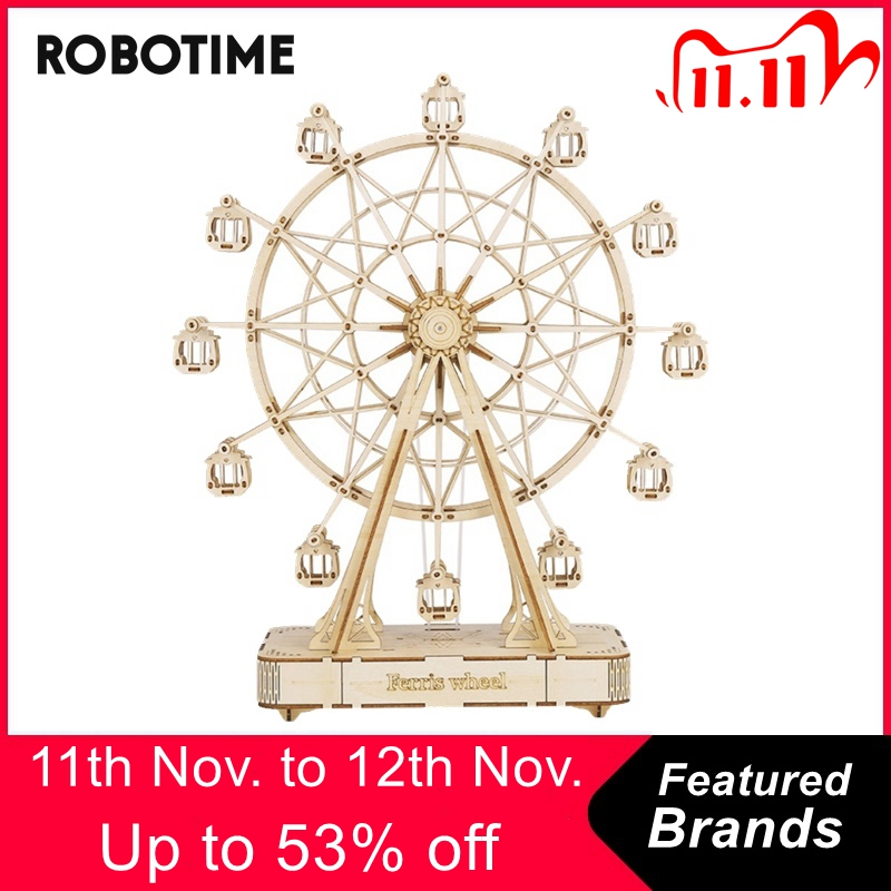 Robotime 232pcs Rotatable DIY 3D Ferris Wheel Wooden Puzzle Game Assembly Music Box Toy Gift for Children Teens Adult TGN01|Puzzles| - AliExpress
