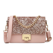 цены на womens bags handbags Shoulder Bags Ladies Fashion Shoulder Chain Purse Small Glitter Side Bag PU Leather Girls Glitter Shoulder  в интернет-магазинах