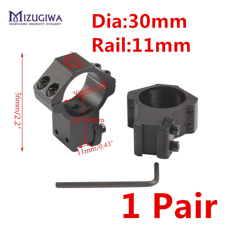 1 Pair Scope Mount 30mm Ring High Rifle Double Screw Strap Weaver 11mm Picatinny Rail Air Rifle Base Install Scope Pistol