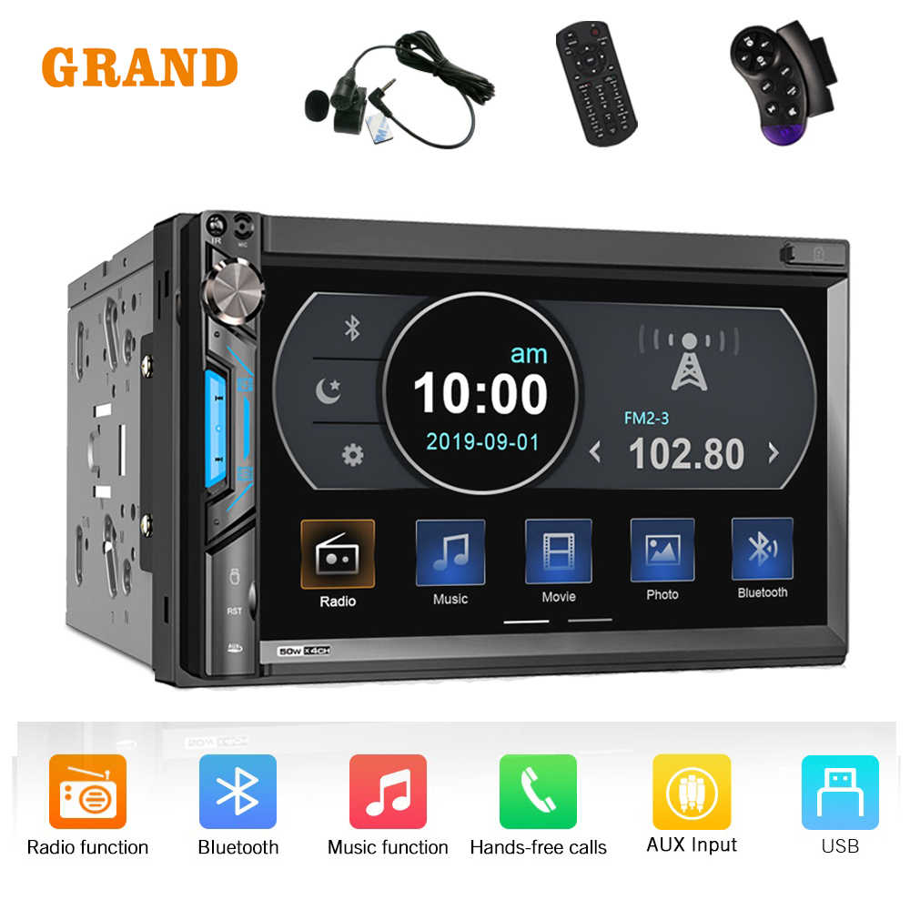 "GRAND 71BT 2 Din Mobil Radio Stereo 7 ""Universal Multimedia Mp5 Player USB Bluetooth Cermin Link Auto Radio untuk Toyota nissan Lada"