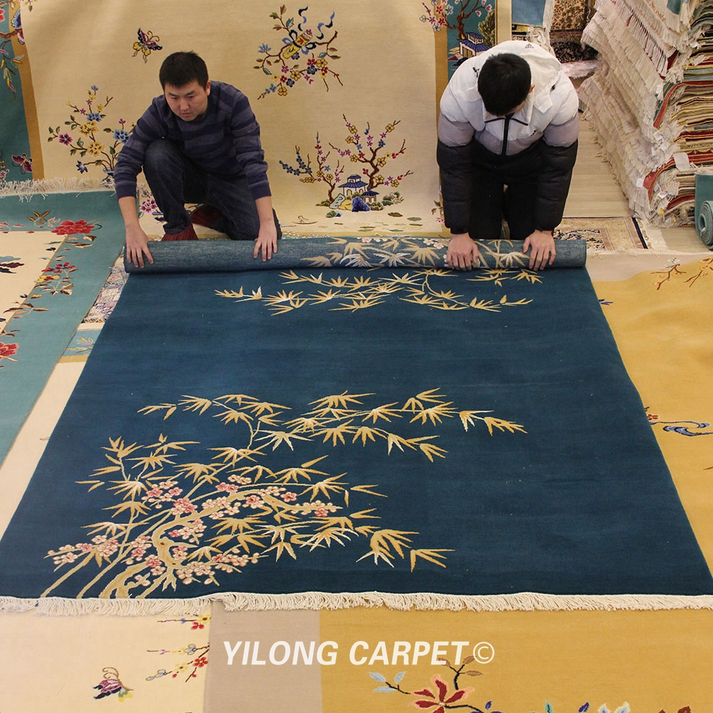 YILONG 6'x9' Bamboo Design Hand knotted Woollen Art Deco Wool Area Rug Carpets (TJ2018025S)
