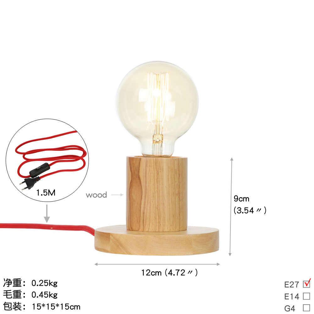 Современная настольная лампа E27 база деревянные настольные лампы Кнопка штепсельная вилка стандарта ЕС Эдисона светодиодный свет для спальни гостиной домашнего декора освещения