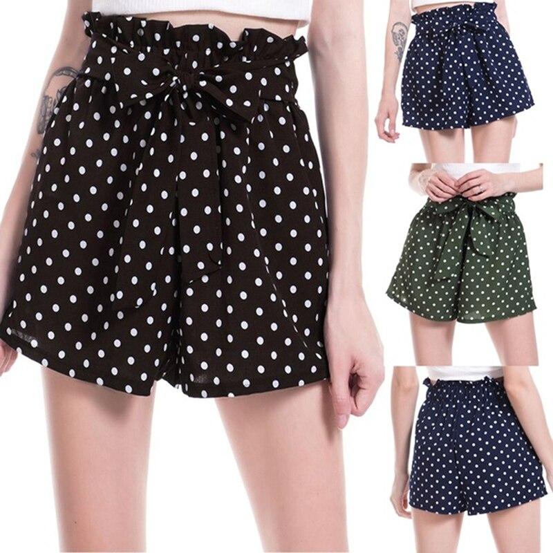 High Waist Sweet Bow Tie Shorts Fashion Polka Dot Chiffon Shorts Sexy Ladies Casual Shorts Elasticated Ruffles