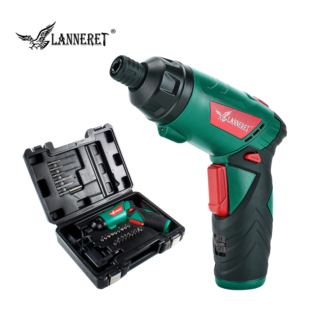 LANNERET 3.6V Cordless Electric Screwdriver Lithium-Ion Household Multifunction Drill/Driver Power Gun Tools LED Light