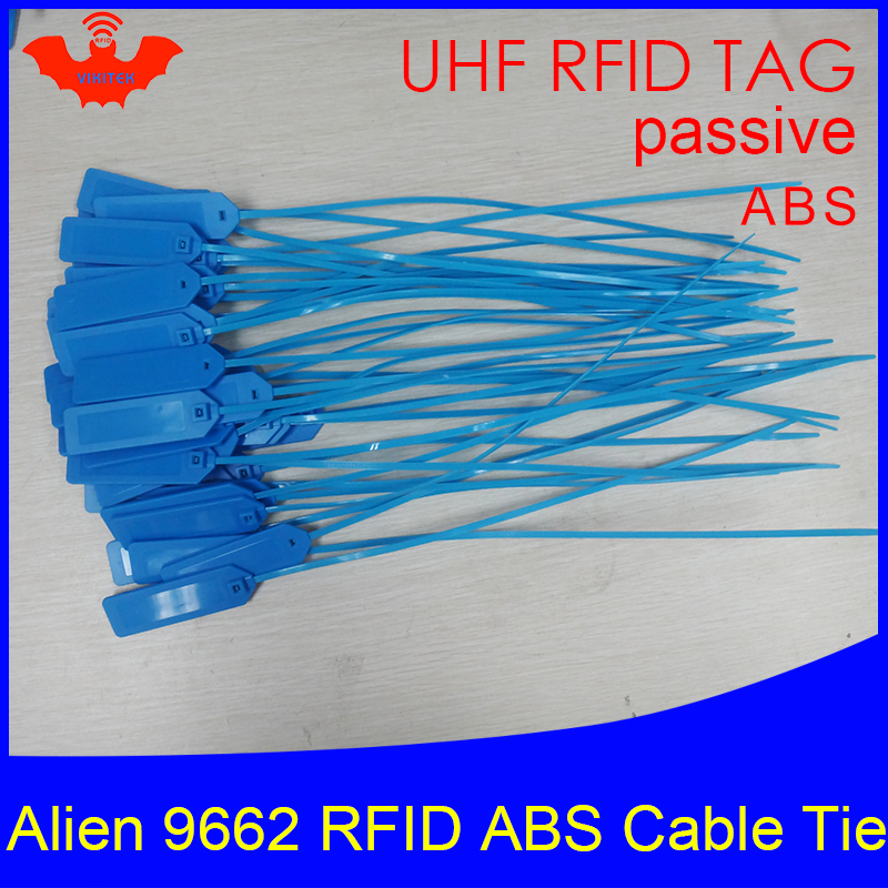 RFID Tag UHF ABS Cable Tie Alien 9662 EPC6C 915mhz 868m 860-960MHZ Higgs3 92*28*3.5mm Long Distance Smart Card Passive RFID Tags