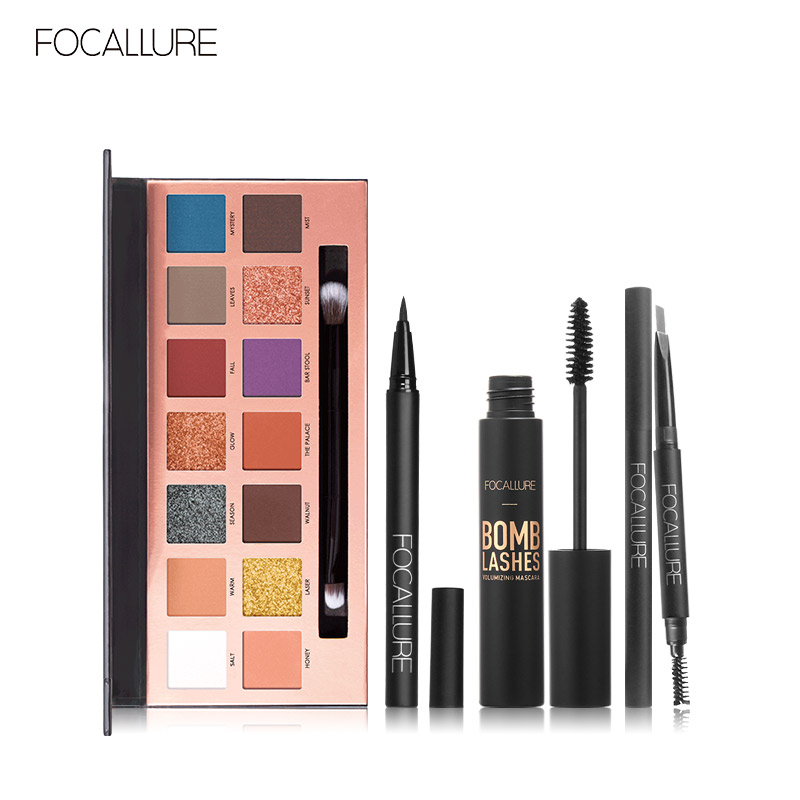 FOCALLURE 5pcs Makeup Sets Include 14 Colors Eyeshadow Eyebrow Eyeliner Mascara Cosmetic Kit