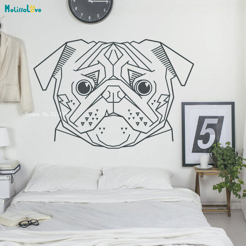 Geometric Pug Wall Decal Animal Art Statement Cubist Dog Stickers Lover Gift Unique Self Adhesive Home Décor Yt3883 Wall Stickers Aliexpress