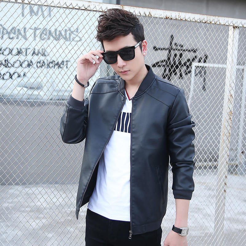 2017 Spring And Autumn New Style Thin MEN'S Leather Jacket Korean-style PU Leather Men'S Wear Youth Slim Fit Locomotive Leather
