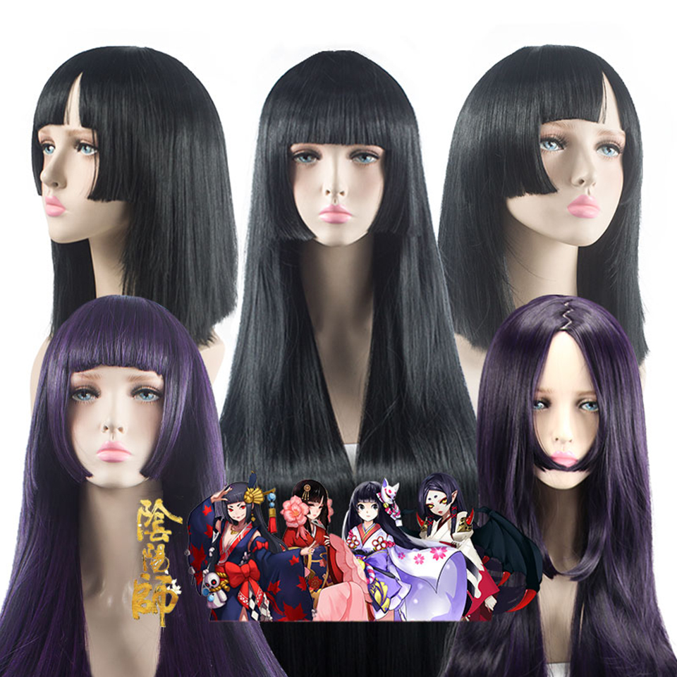 AILIADE Long Black Purple Wig 100CM/40 Inches Synthetic Heat Resistant Fiber Carnival Costume Cosplay Straight Women Hair