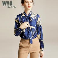 Vintage Blue Blouses Shirts 2020 Spring New Arrival Hot Sale Big Size 100% Pure Twill Silk Blouses And Tops