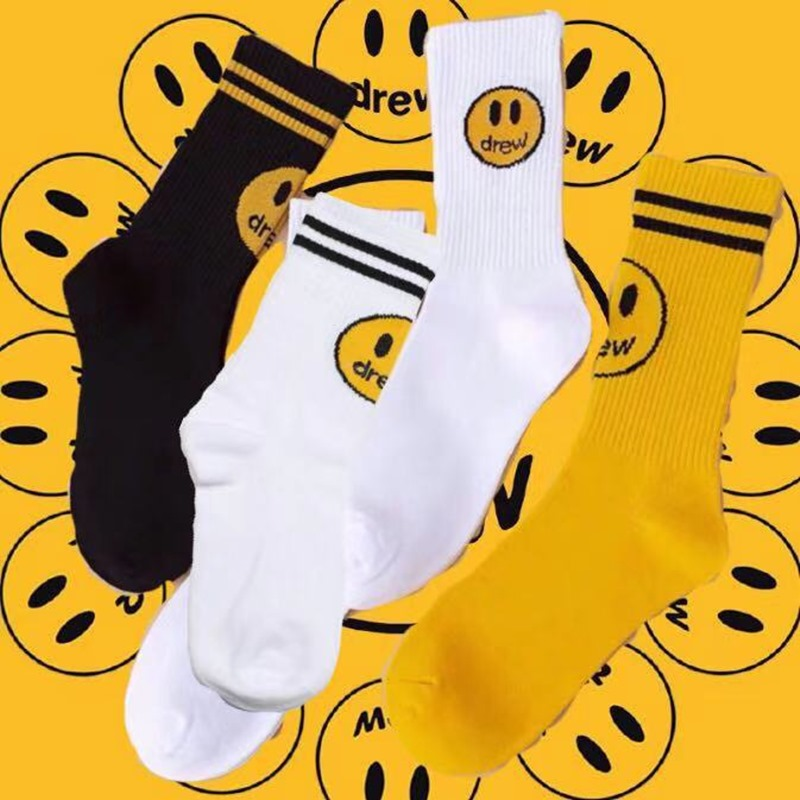 One Pack Adult Mid Calf Crew Socks Justin Bieber JB  Sox Drew Yellow Smile Face Drew House Drews Logo Fashion Wear Brand Lines