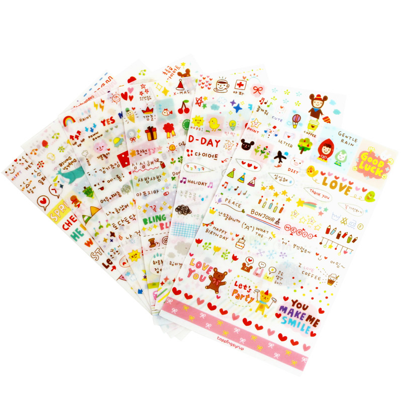 6 Sheet/set Stickers Cute Korea Pvc Transparent Flake Seal Cards For Scrapbooking Diy Diary Calendar Notebook Label Stationery