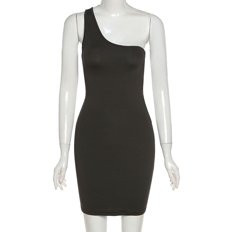 Summer Black Sexy Hollow One Shoulder Y2K Mini Dress Women Sleeveless Backless Bandage Party Clubwear Beach Slim Dresses 2021New 4