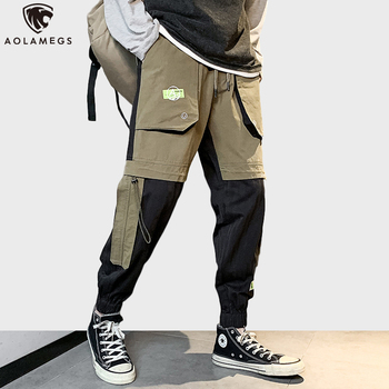 Aolamegs Cargo Pants Men Hong Kong Style Vintage Sweatpants Spring Hip Hop Youth Streetwear Patchwork Men's Clothing Trousers вибратор hong kong might give my love