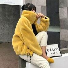 Шуба из искусственного меха, утолщенное пальто на осень и зиму, Повседневная Женская куртка большого размера, шуба из искусственного кроличьего меха