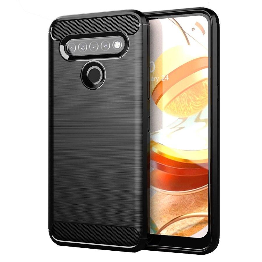 50PCS/LOT,Carbon Fiber Texture Shockproof Cover Protective Soft TPU Case For LG K61 Q61 K51 Q51 K50 Q60 Aristo 5+ K31