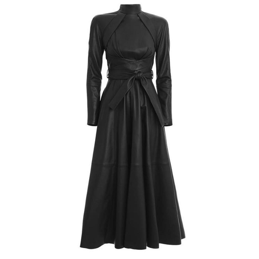 Noir brun médiéval PU robe en cuir femmes rétro piste automne à manches longues taille haute ceintures Faux cuir longue Maxi robe Robes