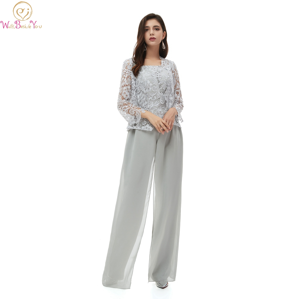 2020 New Elegant Lace Women's 3 Pieces Chiffon Mother Of The Bride Dress Pants Suit Long Sleeves With Jacket Outfit For Wedding