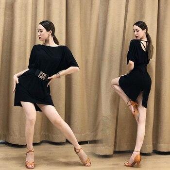 2019 Summer Latin Dance Dress For Women'S Sexy Loose Backless Dress Female Practice Clothes Ballroom Salsa Samba Dresses DL4253