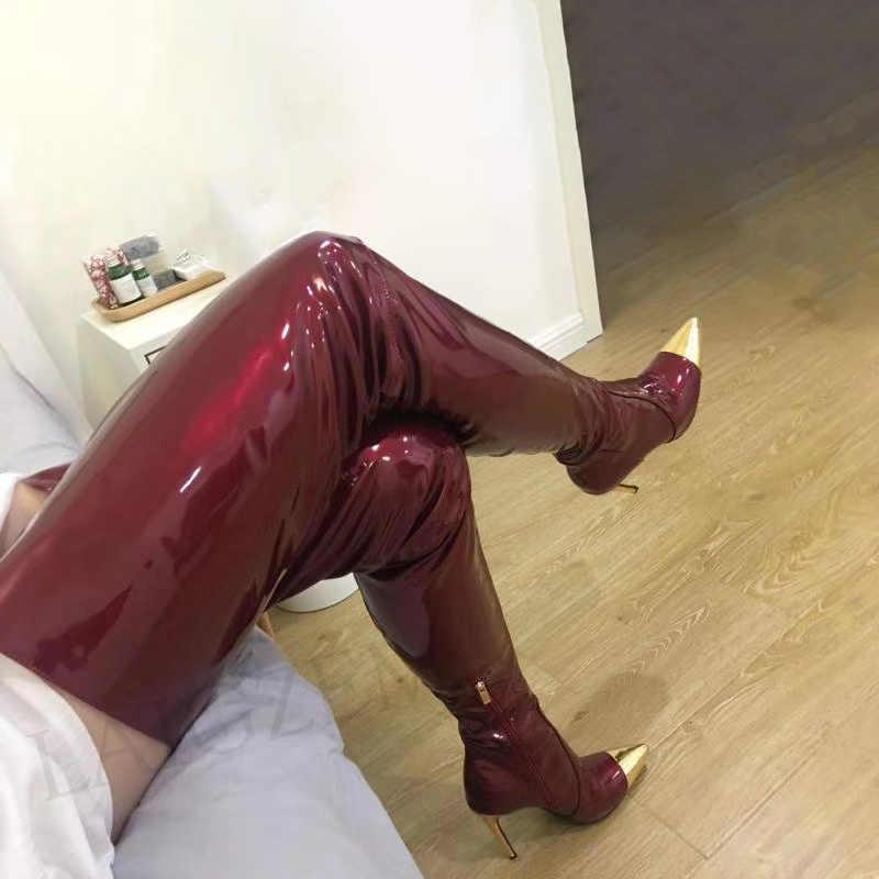 LAIGZEM Hợp Thời Trang Nữ Đùi Cao Cấp Giày Bằng Sáng Chế Sáng Bóng Khóa Kéo Bên Hông Giày Boot Cổ Giày Người Phụ Nữ Handmade Botines Botas Lớn Size 39 42 47