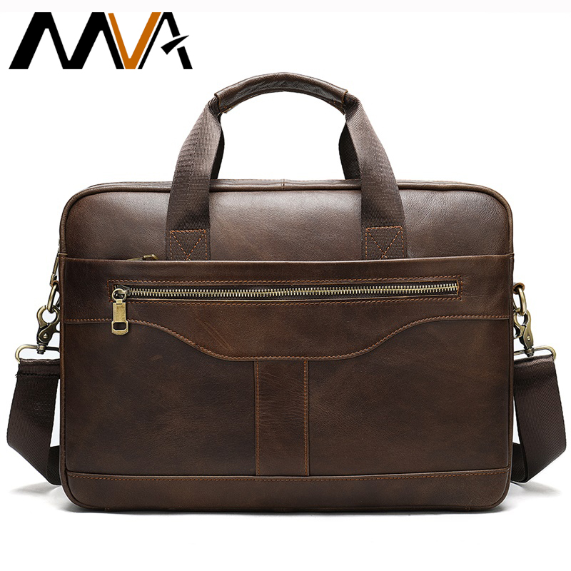 MVA Men's Briefcase Genuine Leather Bag Messenger Bags Men Leather Laptop Office Bags For Men Business Briefcases Bags For Man