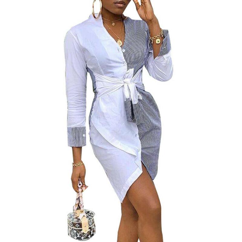 Women Stripe Patchworl Summer Long Shirts New Fashion Ladies Shirt Party Mini Dress Sundress Hot