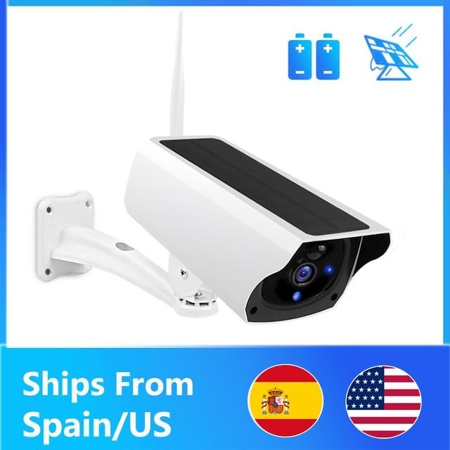Cámara IP Solar con WiFi para exteriores cámara de seguridad inalámbrica con batería de carga HD de 1080P, detección de movimiento PIR, CCTVCámaras de vigilancia